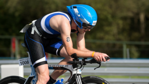 Carl competing on his time trial bike