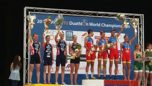 Medal Ceremony World Championships 2016 - silver for GB relay team